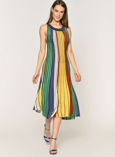 Loves You Kelepçe Yaka Çok Renkli Triko Elbise Renkli